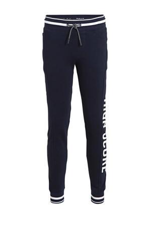 joggingbroek met tekst donkerblauw/wit