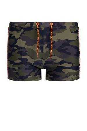 zwemboxer met camouflageprint legergroen