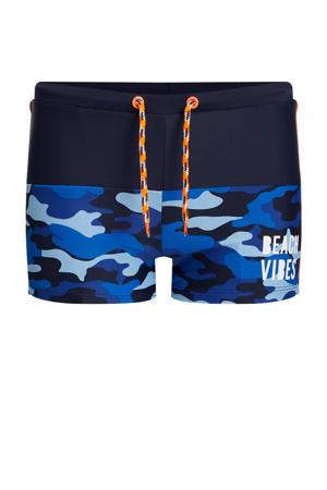zwemboxer met camouflageprint blauw