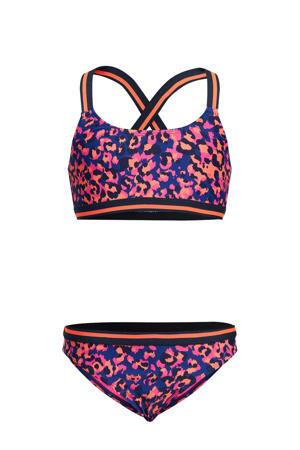 bikini met panterprint blauw/roze