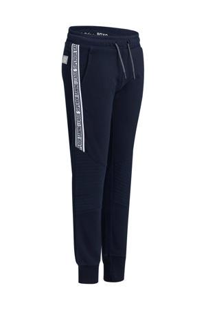 joggingbroek met zijstreep donkerblauw/wit