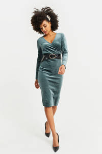 WE Fashion fluwelen jurk dark green, Dark Green