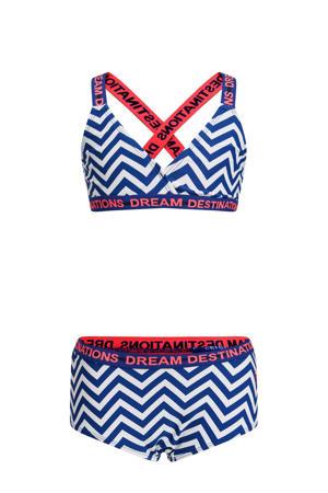 bikini met all over print blauw/wit/rood