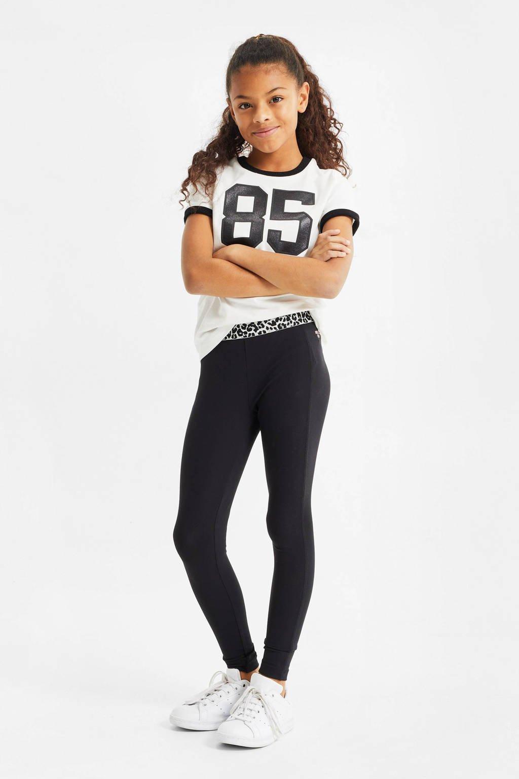 WE Fashion T-shirt met tekst wit/zwart, Wit/zwart