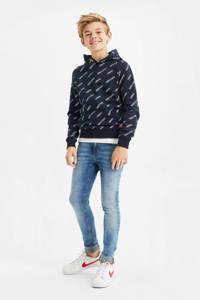 WE Fashion hoodie met tekst donkerblauw/wit, Donkerblauw/wit