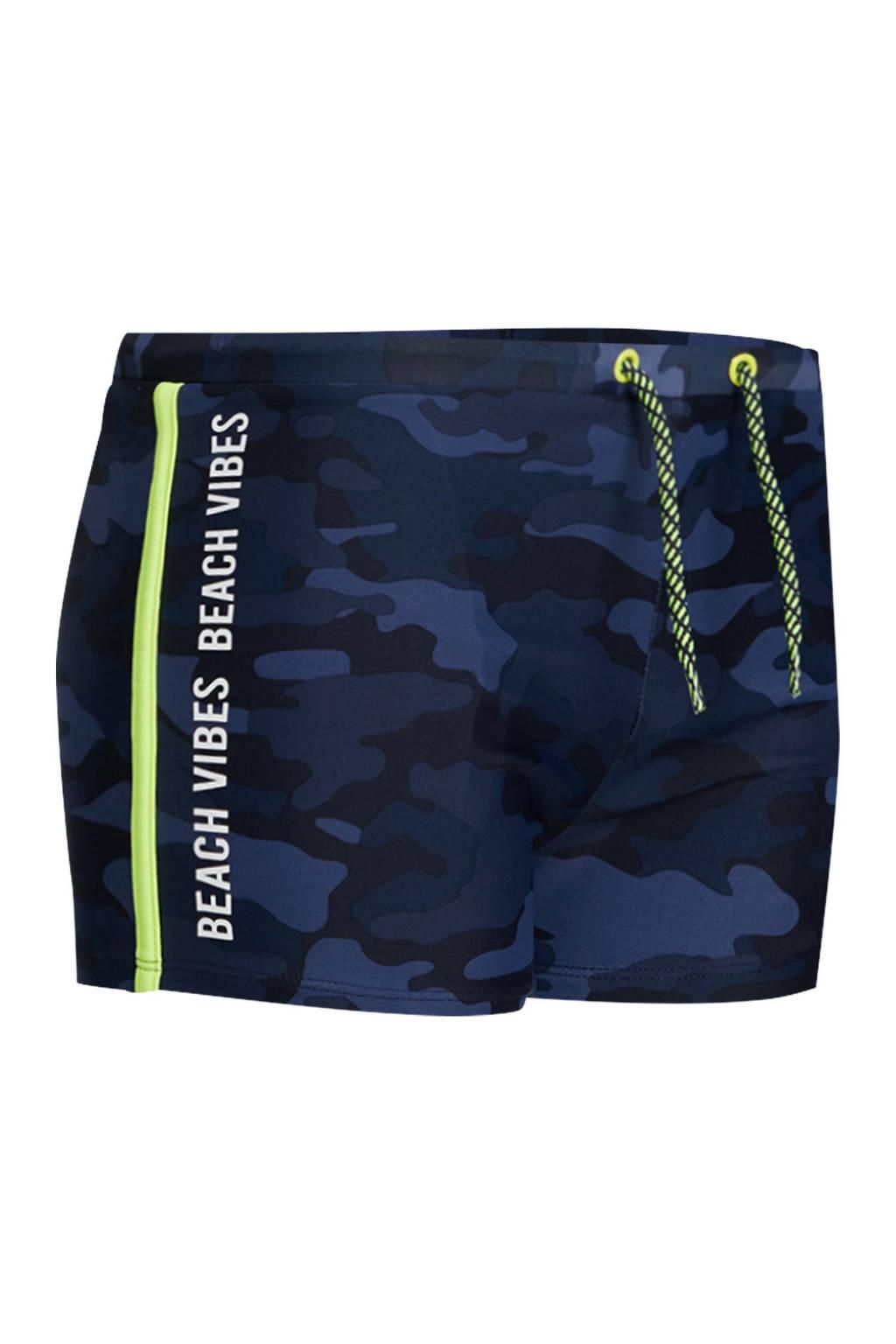 WE Fashion zwemboxer met camouflageprint donkerblauw, Donkerblauw