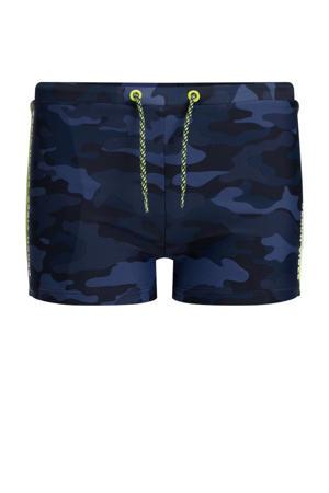zwemboxer met camouflageprint donkerblauw