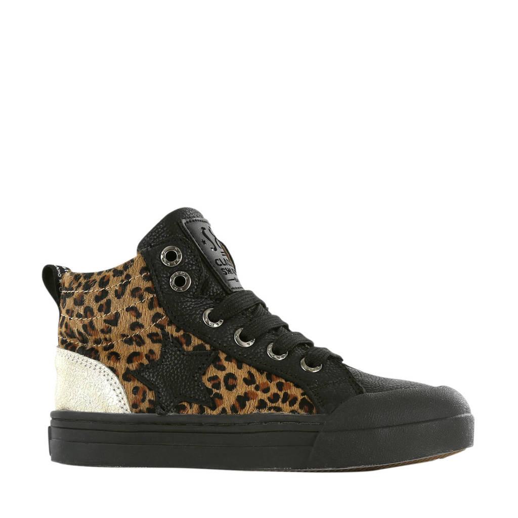 Shoesme BM20W011-A  hoge leren sneakers zwart/panterprint, Zwart/bruin/goud