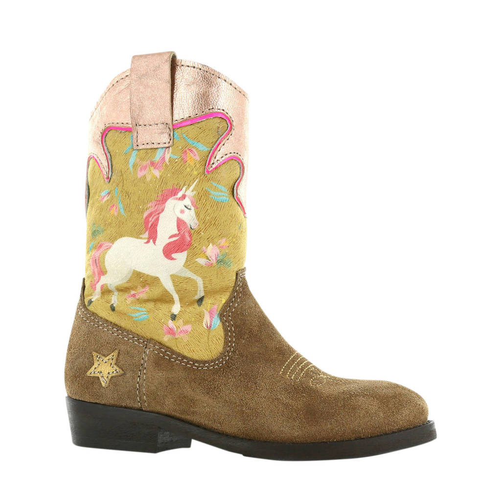 Shoesme WT20W112-B  leren cowboylaarzen bruin/multi, Bruin/multi