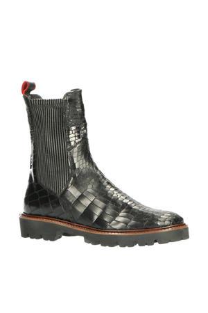 31177  leren chelsea boots met crocoprint zwart
