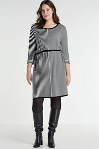 PONT NEUF jurk Sabina met all over print zwart/wit, Zwart/wit