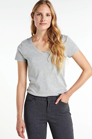 gemêleerd T-shirt lichtgrijs