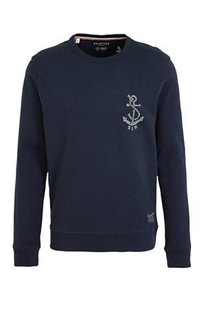 sweater met printopdruk donkerblauw/wit