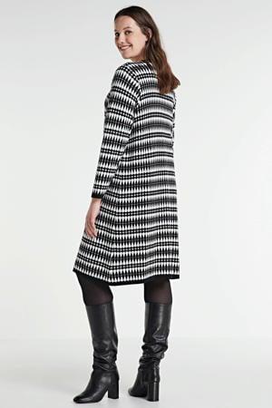 gebreide jurk Thurit met all over print zwart/wit