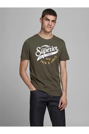 T-shirt met logo donkergroen