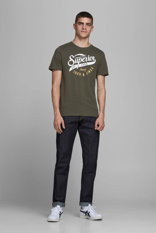 JACK & JONES ESSENTIALS T-shirt met logo donkergroen, Donkergroen