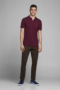 JACK & JONES ESSENTIALS slim fit polo aubergine, Aubergine
