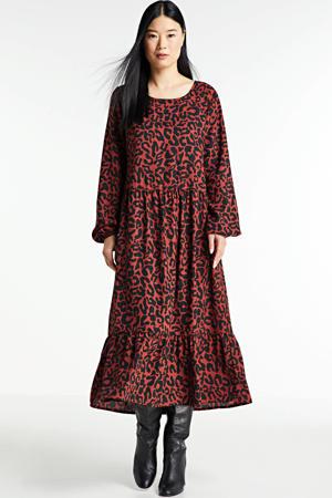 A-lijn jurk met all over print zwart/brique