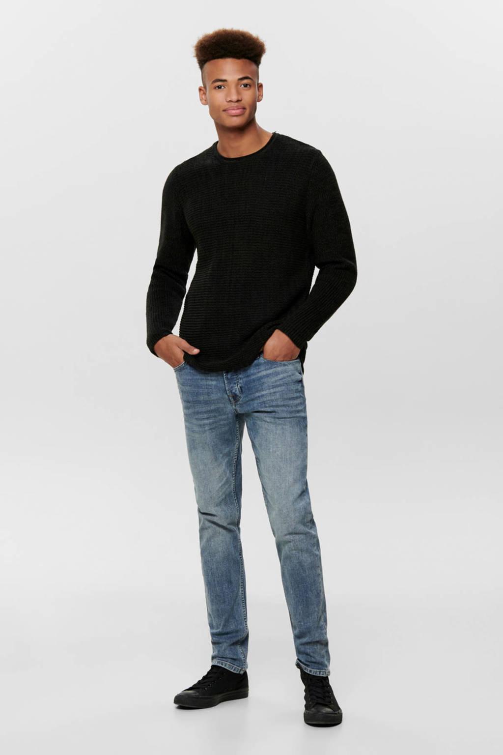 ONLY & SONS trui zwart melange, Zwart melange