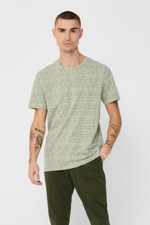 T-shirt van biologisch katoen kaki/ecru