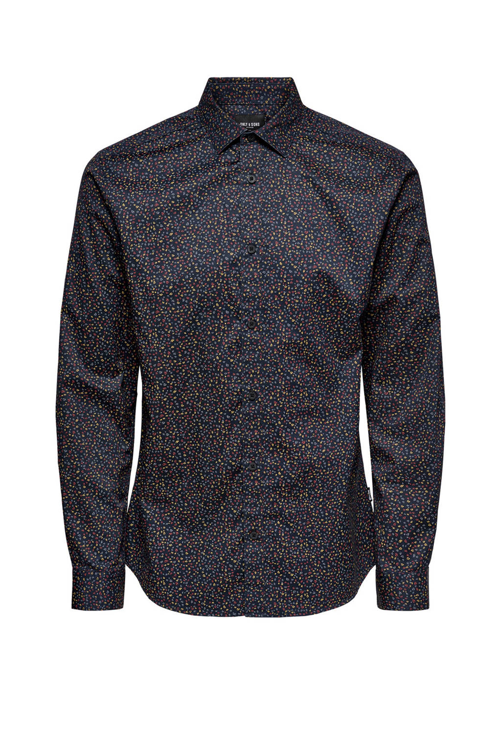 ONLY & SONS slim fit overhemd met all over print donkerblauw, Donkerblauw