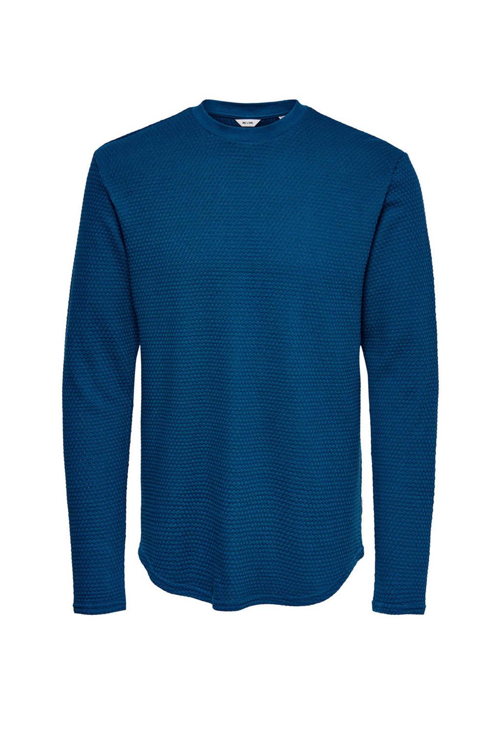 ONLY & SONS sweater van biologisch katoen blauw, Blauw