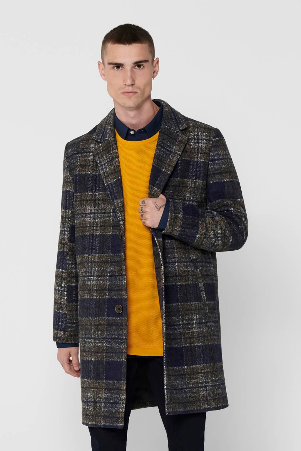 ONLY & SONS geruite winterjas met wol blauw/multi, Blauw/multi
