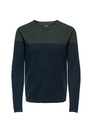 gebreide trui donkerblauw/kaki