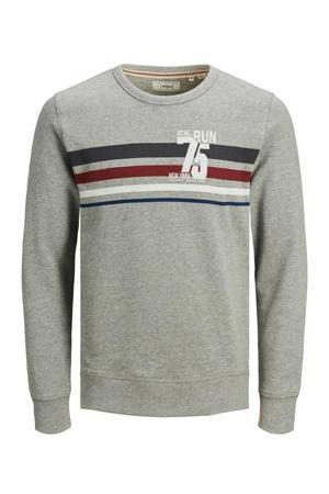 sweater met printopdruk lichtgrijs melange