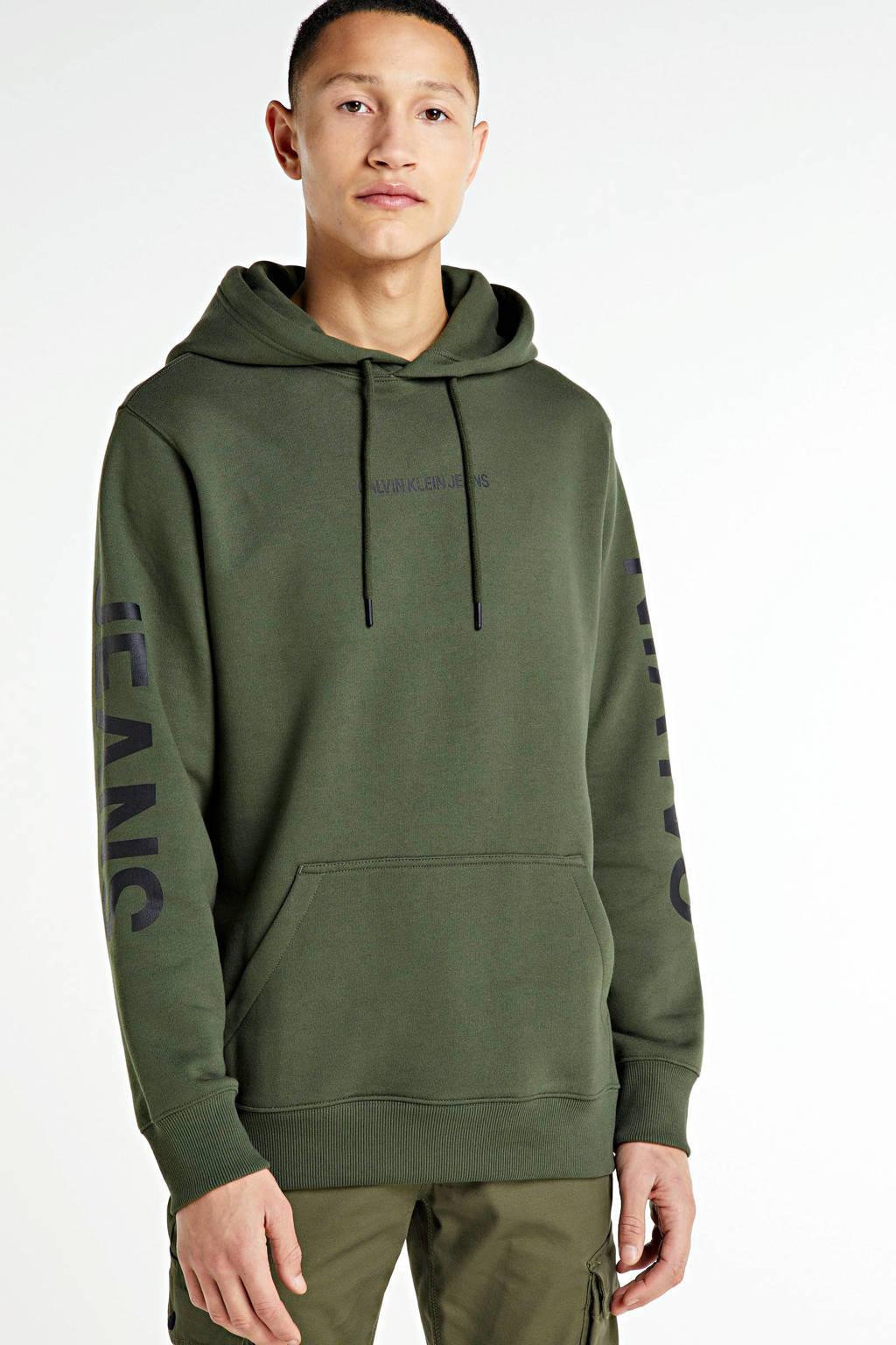 CALVIN KLEIN JEANS hoodie met logo donkergroen, Donkergroen