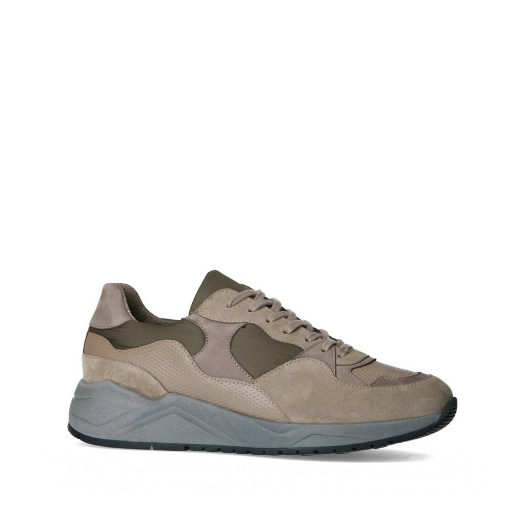 Sacha   leren sneakers grijs, Grijs/multi