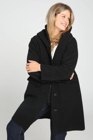 coat tussen met wol zwart