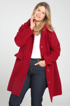 coat tussen met wol donkerrood