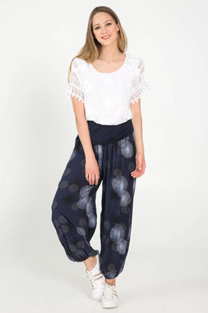 high waist loose fit broek met all over print marine