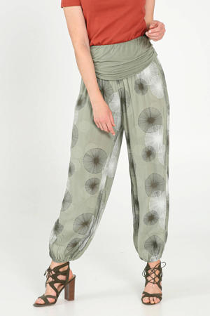 high waist loose fit broek met all over print kaki