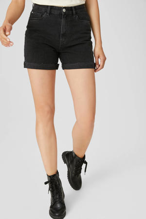 high waist jeans short zwart