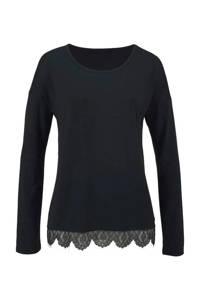 Lascana pyjamatop met kant zwart, Zwart