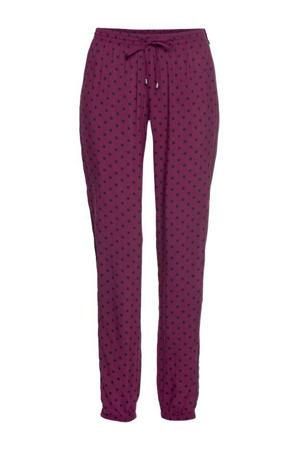pyjamabroek met stippen donkerrood/zwart