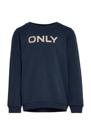 sweater Beat met logo donkerblauw
