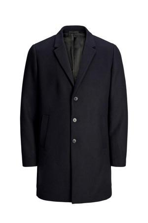 winterjas met wol donkerblauw