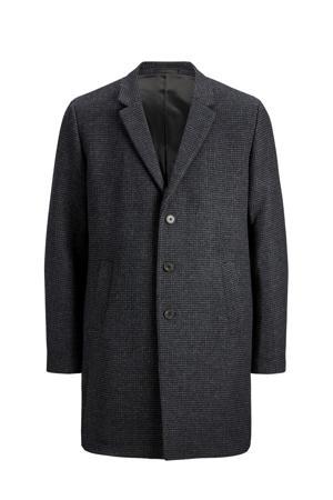 winterjas met wol donkergrijs