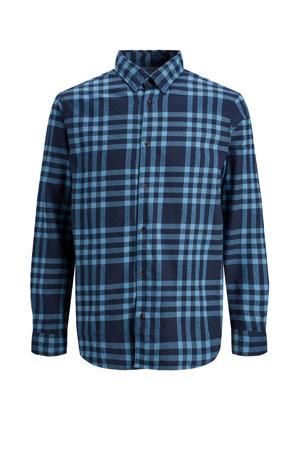 geruit regular fit overhemd donkerblauw
