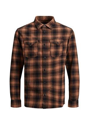 geruit slim fit overhemd zalm