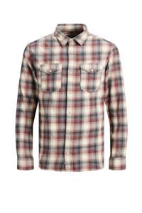 JACK & JONES PREMIUM geruit regular fit overhemd beige/rood, Beige/rood