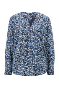 Tom Tailor blouse met all over print blauw/donkerblauw/wit, Blauw/donkerblauw/wit