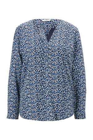 blouse met all over print blauw/donkerblauw/wit
