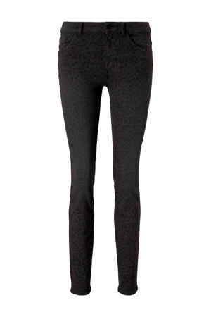 skinny jeans met panterprint antraciet