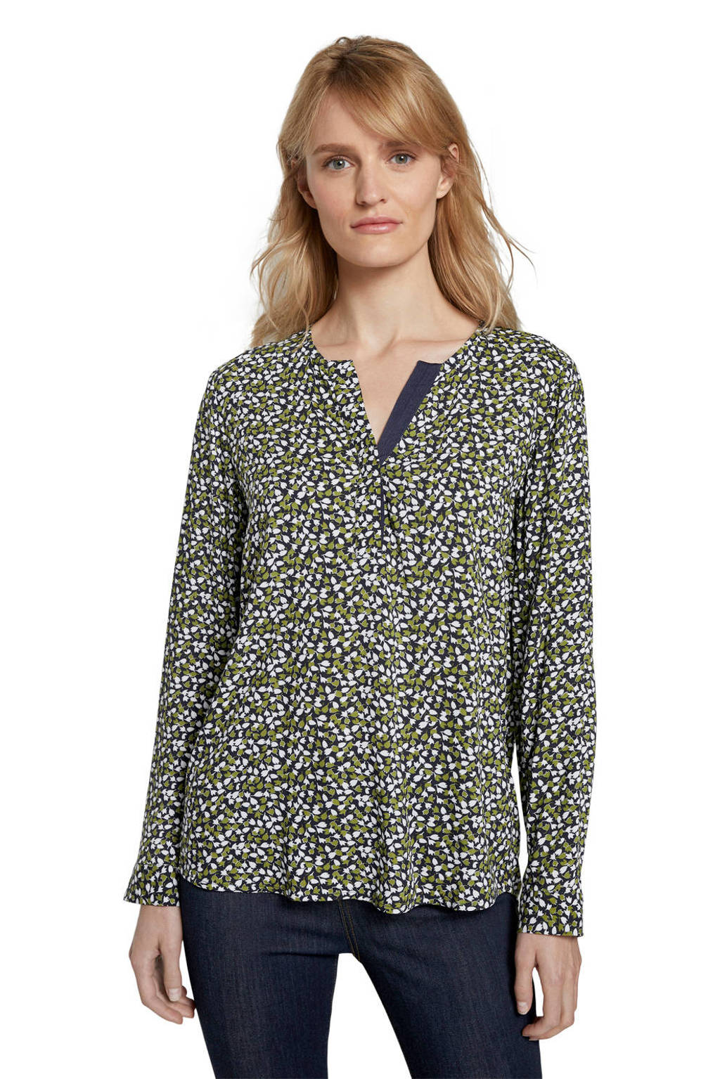 Tom Tailor blouse met all over print donkerblauw/groen/wit, Donkerblauw/groen/wit