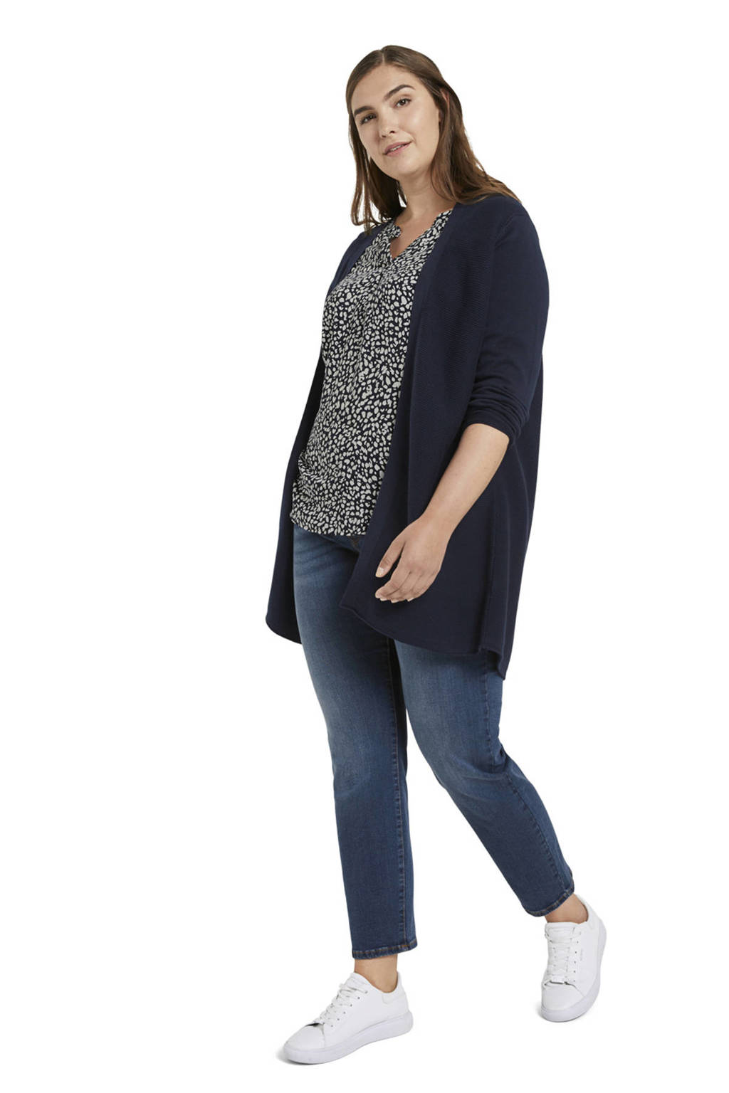 My True Me blouse met all over print donkerblauw/wit, Donkerblauw/wit