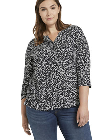 blouse met all over print donkerblauw/wit